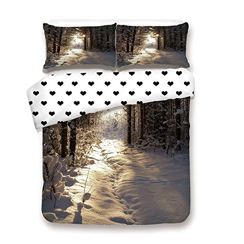 Duplex Print Duvet Cover Set FULL Size/Christmas Season with Snow and Frozen Forest Sun Rays Very Cold Woods Scenery Image/Decorative 3 Piece Bedding Set with 2 Pillow Sham,Best Gift For Your beloved