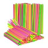(180-Pack) Large Milkshake / Smoothie / Slush Straws, Disposable Jumbo Extra Wide Thick Shake Long Plastic Drinking Straw, Assorted Colors, 9
