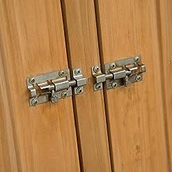 HOMCOM Gabinete Caseta Herramientas Jardín 75x140x160cm Cobertizo Armario de Madera Maciza 2 Puertas 12
