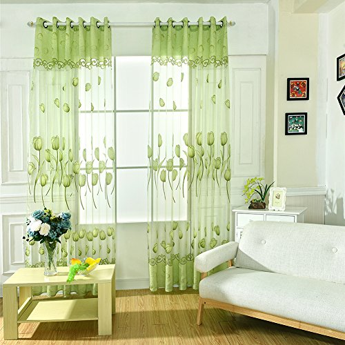 Adarl 1pc Mordern Perforated Tulip Ingot Spent Jacquard Yarn Floral Tulle Curtains For Living Room Curtain Window Borders Green