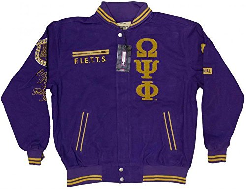 New! Mens Omega Psi Phi Gold & Purple Fraternity Patch Racing Style Jacket 3XL