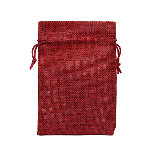 whitespace-shop Drawstring Natural Burlap Bag Jute Gift Bags Multi Size Jewelry Packaging Wedding Bags with Candy Bag,Wine Red-67,7x9cm