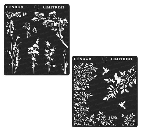 - CrafTreat Stencil - Wild Flowers & Leaves and Branch (2 pcs) | Reusable Painting Template for Home Decor, Crafting, DIY Albums, Scrapbook and Printing on Paper, Floor, Wall, Tile, Fabric, Wood 6