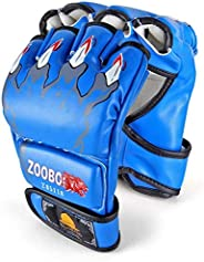 ZooBoo MMA Gloves, Half-Finger Boxing Fight Gloves MMA Mitts with Adjustable Wrist Band UFC Gloves for Sanda S