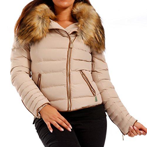 Piel sintética de invierno al aire libre–Chaqueta acolchada chaqueta para mujer Beige