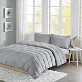 Add a Fun Pop of Color to Your Room With Super Soft and Comfortable,Machine Washable for Easy Care Home Essence Apartment Ava Seersucker Down Alternative Comforter Set,Grey,Twin