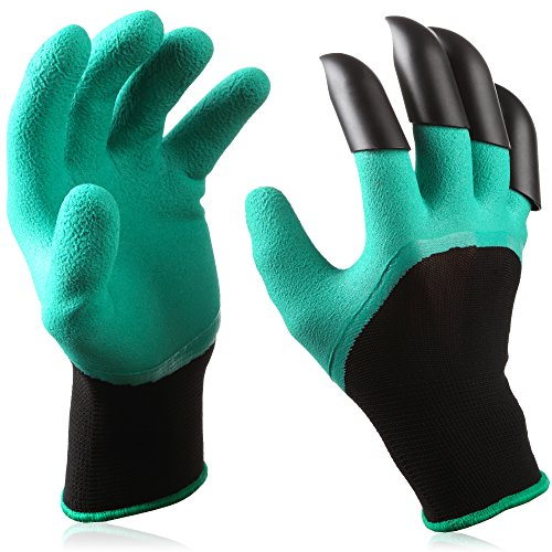 SOILS premium garden genie gloves made of natural latex rubber with right hand fingertip claws for digging, raking and hands protection by SOILS