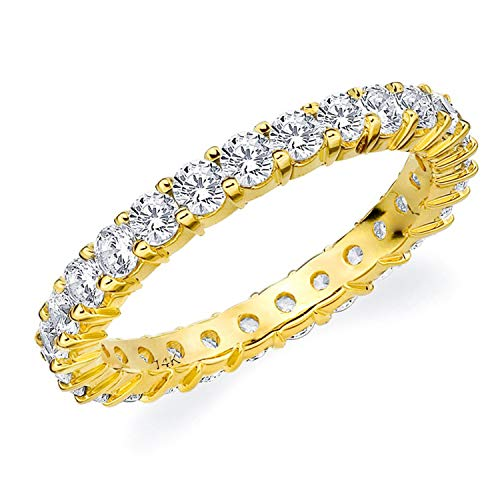 1.5CT Passion Eternity Diamond Ring in 14K Yellow Gold Shared Prong Setting - Finger Size 7.25