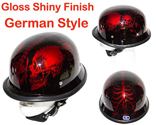Burgandy Apparel - Dream Apparel Motorcycle Low Profile Skull Cap German Style Gloss Shiny Burgundy Skeletons Novelty Helmet W/Adjustable Chin Strap (S - (21
