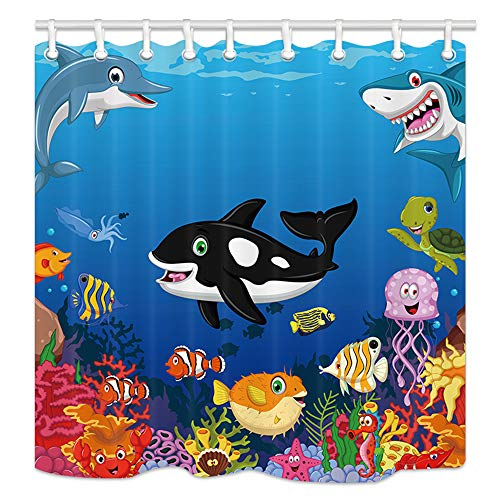 (NYMB Kids Love Sea Animals Shower Curtains, Cartoon Whale with Sea Life Swimming in Coral, Polyester Fabric Waterproof Ocean Animal Bathroom Bath Curtain, Shower Curtain Hooks Included, 69X70in )