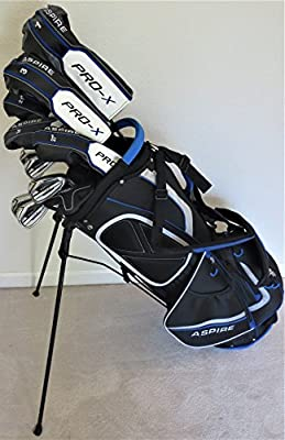 "Mens Complete Golf Set Custom Made Clubs for Tall Men 6'0""- 6'6"" Tall Adjustable Driver, 3 Wood, 3, 4, 5 Hybrids, Irons, Sand Wedge Putter, Stand Bag Regular Flex Pro Quality"