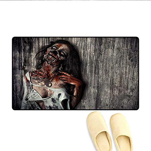 Door Mats,Angry Dead Woman Sacrifice Fantasy Design Mystic Night Halloween Image,Customize Bath Mat with Non Slip Backing,Dark Taupe Peach Red,Size:16