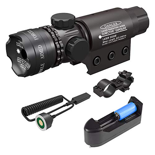 Feyachi Tactical Green Dot Laser Sight with Picatinny Rail Mount - Include Battery Charger, Barrel Mount & Cable Switch (Best Green Dot Laser Sight)