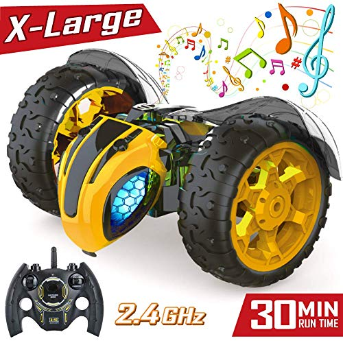 Remote Control RC Stunt Cars Toys for Kids,1: 8 Rotating 360°Flips 2.4Ghz Electric Rechargable Radio Controlled Race Car with Color Headlights for 5 6 7 8 9 10 12 Years Old Boys Girls from EATEK