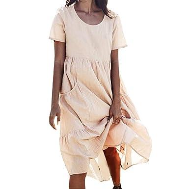 10cf8c3147a4a8 Damen Leinenkleid Sommer Lang Tunika Kleid Vintage Baggy Party Kleider  Langarm Baumwolle Leinen Kleid Maxikleid Strandkleid