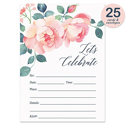 Pink Rose Invitations with Envelopes ( Pack of 25 ) Fill In Bridal Shower, Rehearsal Dinner Invites, Baby Shower, Engagement, Anniversary, Graduation, Birthday Party Excellent Value VI0020B Blank Rehearsal Dinner Invitations
