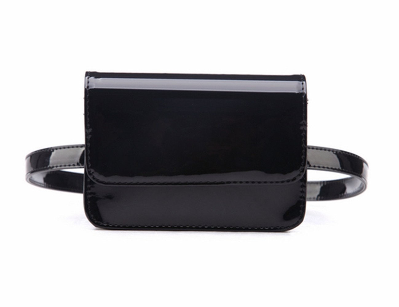 Olivia Elegant Patent Leather Fanny Pack PU Leather Waist Bag Waterproof Summer Beach Fanny Pack Bum Bag Travel Cell Phone Bag (Patent Black)