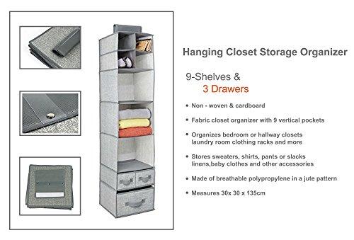 RePackMe (TM) Hanging Closet Storage Organizer (9 Shelves with 3 Drawers, Grey)
