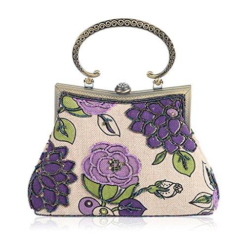 Embroidery Beaded Party Shoresu Lady Purple Cocktail Clutch Evening Women Blue Bag Purse Handbag 5O58IHqw