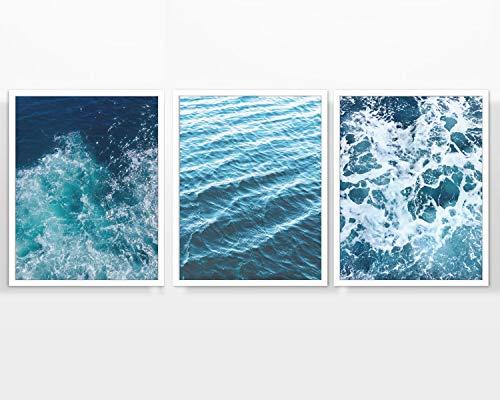 - Ocean Waves Photography prints, Set of 3, UNFRAMED, Beach Sea Costal Wall art decor poster sign, 8x10