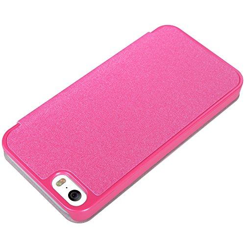 Meimeiwu Hohe Qualität Flip Up Leder Tasche Hülle - Handytasche Schale für Apple iPhone 5S iPhone SE - Rot