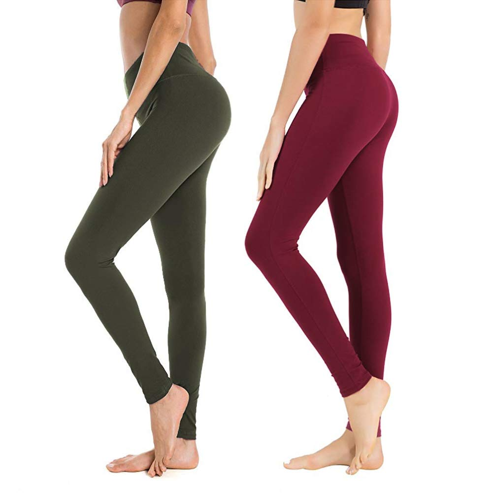 High Waisted Leggings for Women - Soft Athletic Workout Pants - Reg & Plus Size (Olive,Burgundy, One Size (US 2-12))