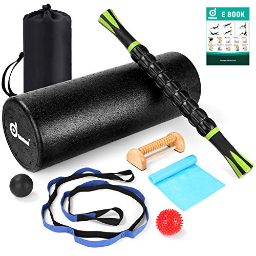 Odoland 8-in-1 18 Large Size Foam Roller Kit with Muscle Roller Stick, Massage Balls, Stretching Strap, Resistance Band and Wood Massage Roller, High Density for Muscle Therapy and Balance Exercise