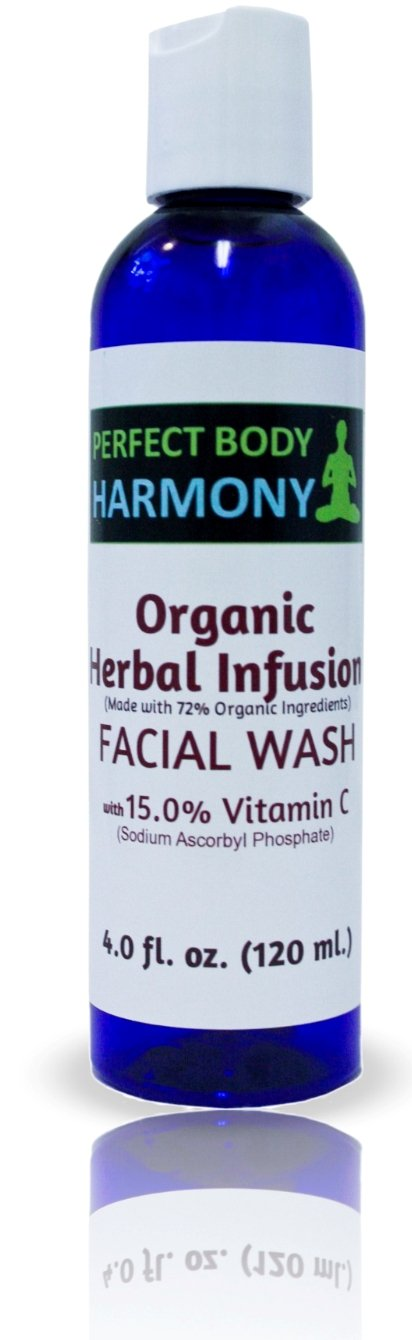 Best Vitamin C (15%) Anti Aging Face Wash & Facial Cleanser from Perfect Body Harmony, 4.0 oz Bottle, 72% Organic & Antioxidant Botanical Ingredients, SULFATE & PARABEN FREE, No Animal Testing!