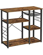 VASAGLE ALINRU Kitchen Baker's Rack, Coffee Bar, Microwave Oven Stand, with Steel Frame, Wire Basket, 6 Hooks, for Mini Oven, Spices Utensils, Industrial, Rustic Brown and Black KKS90X