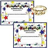 White Preschool Graduation Cap, Gown, Tassel, Sash, Ring, Certificate - Med