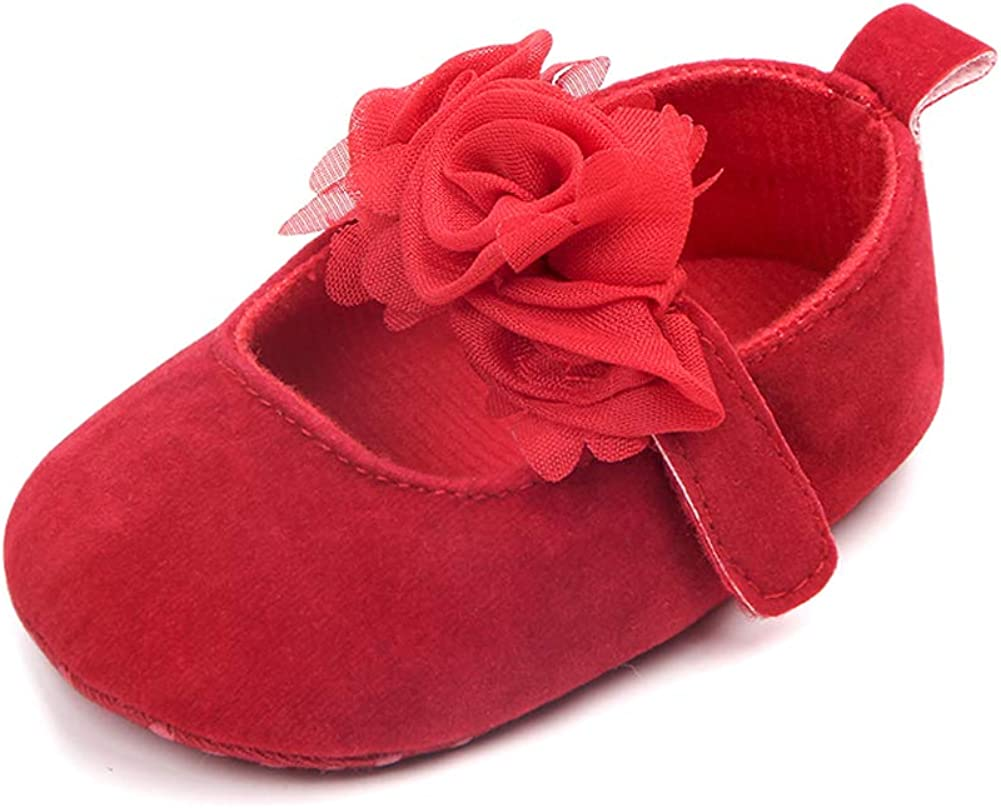 Baby Girls Cute Mary Jane Flats Dress Sneakers Soft Sole PU Leather Moccasins for Infant Prewalkers Birthday Wedding Crib Shoes