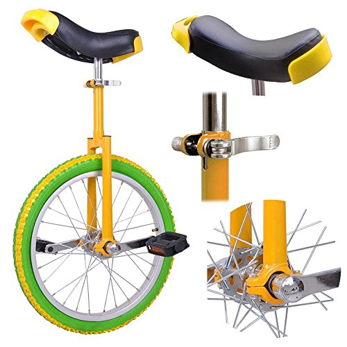 GHP Yellow & Green Manganese Steel 18'' Wheel Skid-Proof Tire Aluminum Rim Unicycle by Globe House Products (Image #1)