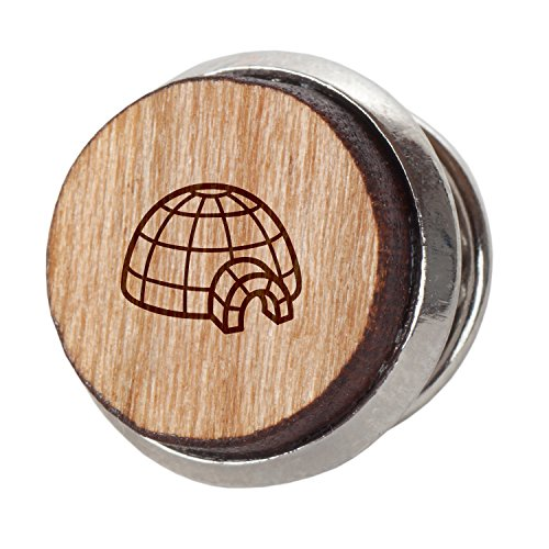 Wood Igloo - Igloo Stylish Cherry Wood Tie Tack- 12Mm Simple Tie Clip with Laser Engraved Design - Engraved Tie Tack Gift