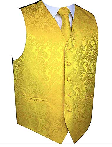Brand Q Men's 3pc Paisley Vest Set-Yellow Gold-L