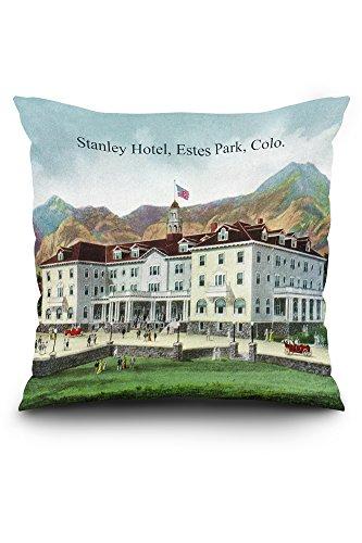 Lantern Press Rocky Mountain National Park - Exterior View of The Stanley Hotel, Estes Park - Vintage Halftone (20x20 Spun Polyester Pillow, Square)