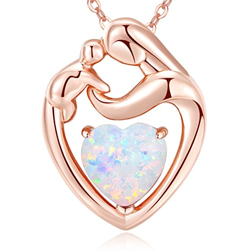 MEGACHIC Women Mother Child Rose Gold Created White Opal Heart Pendant Necklace