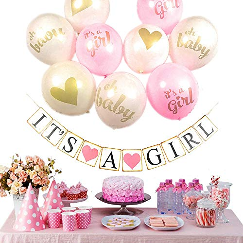 Pink and Gold Baby Shower Decorations for Girl - Its A Girl Balloons Set and Strung Banner Kit - Pregnancy Announcement Party Bundle - Ready to Hang Décor