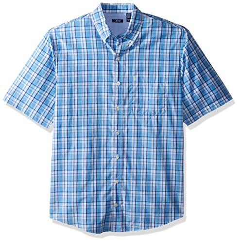 IZOD Men's Big and Tall Breeze Short Sleeve Button Down Plaid Shirt, Little Boy Blue, 3X-Large Tall