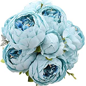Duovlo Artificial Peony Silk Flowers Fake Flowers Vintage Wedding Home Decoration,Pack of 1 (Spring Blue) 24