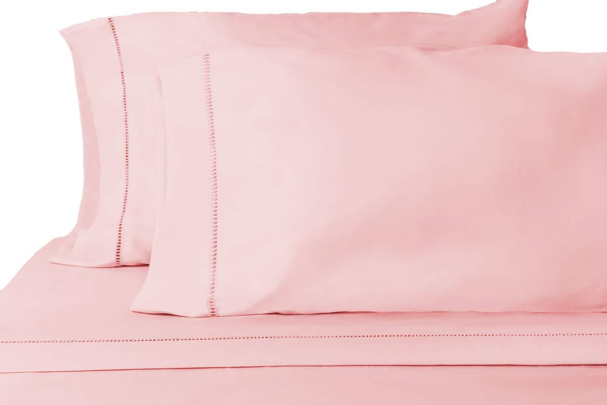 Grace Premium Microfiber Sheet Set - Super Soft, Deep Pocket, Embellished with Hypoallergenic, Wrinkle Resistant and Fade Resistant Brushed Microfiber – 4 Piece Set (Full, Pink)