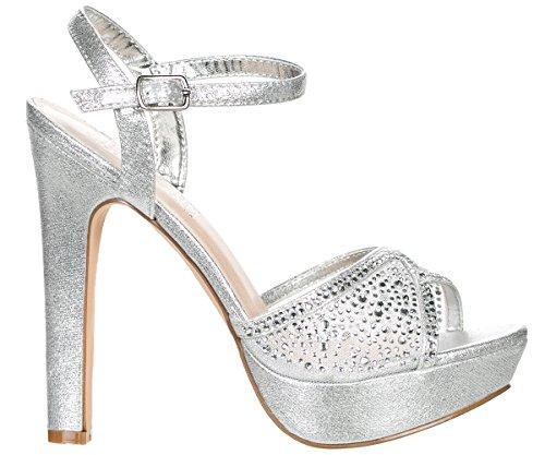 Deblossom Blossom Mujer-vice-126-233 Nupcial Fiesta De Noche Formal Tobillo Correa De Tacón Alto Peep Toe Glitter Sandalia Plata Shimmer