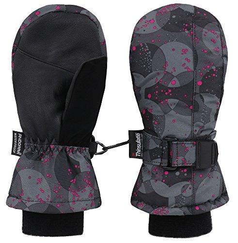 Dot Mitten - Livingston Girl's 3M Thinsulate Lining Winter Gloves Ski Mittens, Pink Dot,4-6Y