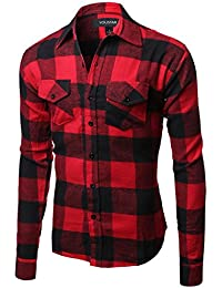 Youstar Men's Flannel Plaid Checkerd Long Sleeve TShirts