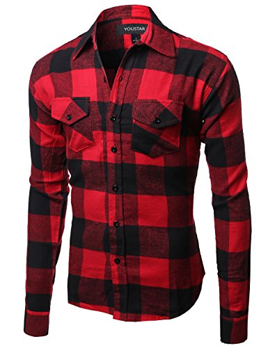 Flannel Plaid Checkerd Long Sleeve TShirts Red Black Size S - Red Flannel Shirt For Men
