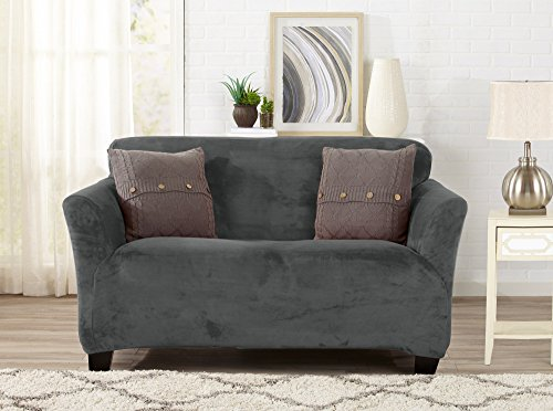 Modern Velvet Plush Strapless Slipcover. Form Fit Stretch, Stylish Furniture Cover / Protector. Gale Collection by Great Bay Home Brand. (Loveseat, Wild Dove Grey) - Furniture Slipcover Loveseat
