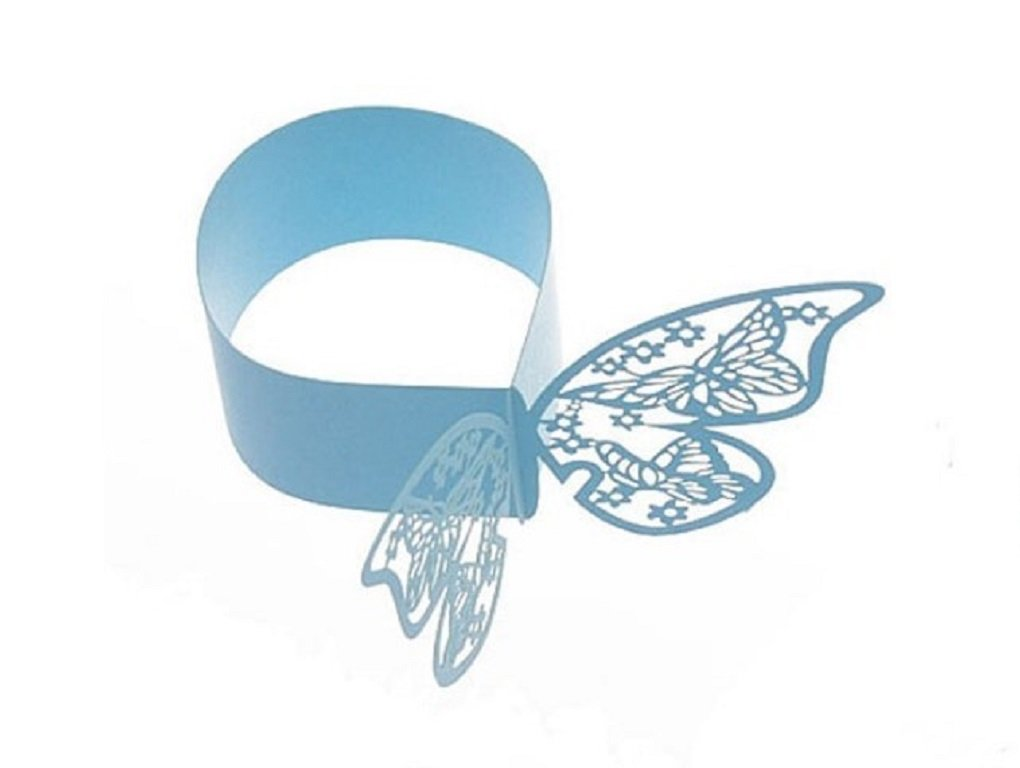 Blue The Crafty Owl Laser Cut Paper Butterfly Napkin Rings Wedding Party Table Decoration Various Colors-24 Pieces