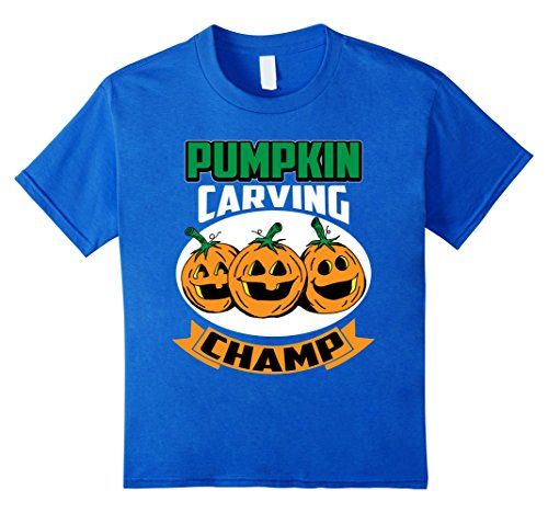 Kids Funny Cute Halloween Pumpkin Carving Champ Competition Shirt 4 Royal (Halloween Pumpkin Carving Competition)