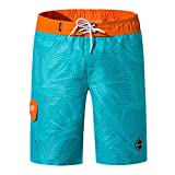 NUWFOR Men's Fashion Casual Printing Patchwork Beach Surfing Swimming Loose Short Pants