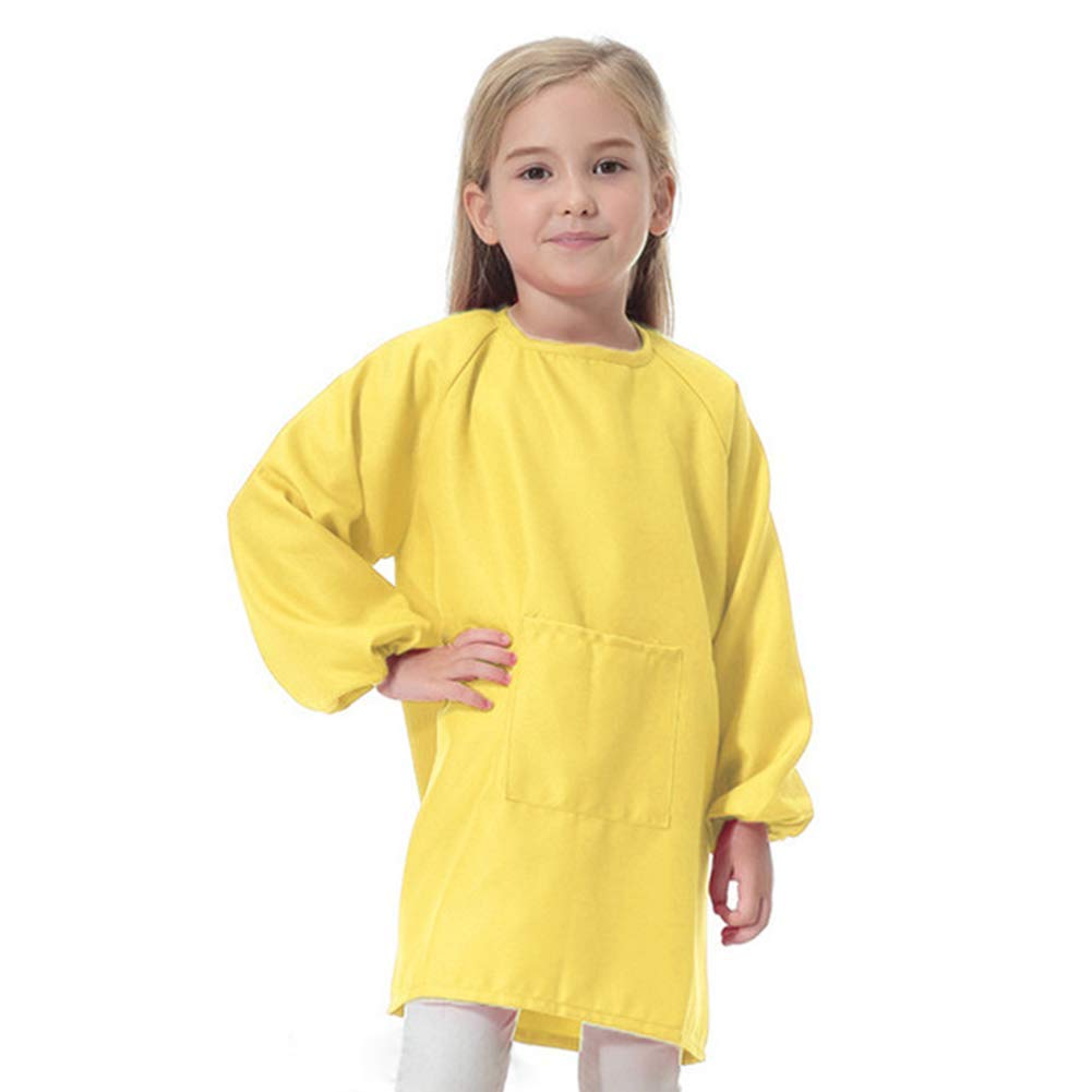 Lange Kinder-Malschü rze mit langen Ä rmeln fü r Kleinkinder, Jungen und Mä dchen, wasserfest, zum Malen, Backen, Kochen und Malen, Grö ß e L, gelb, L (gelb) Askdasu