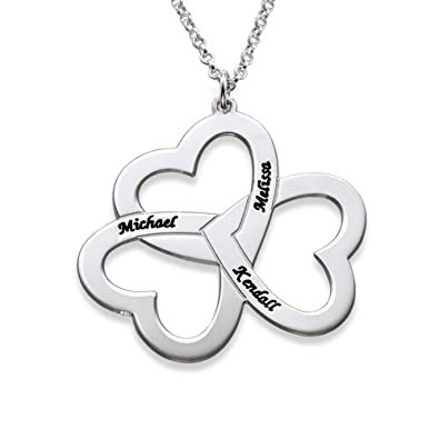 705690f8737d2 Amazon.com  Personalized 3 Heart Necklace in Sterling Silver - Personalized  Engraved with Any Name - Custom Made - Special Gift  Jewelry